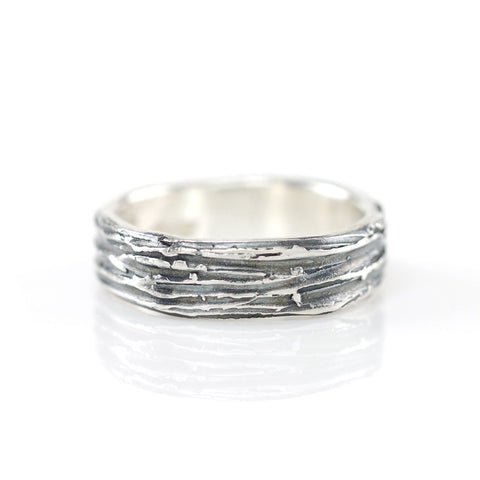 Tree Bark Ring in Palladium Sterling Silver - Size 5 - Ready to Ship