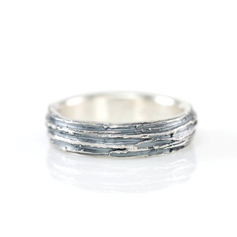 Tree Bark Ring in Palladium Sterling Silver - Size 13 - Ready to Ship