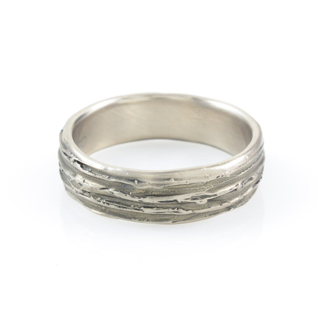 Tree Bark Ring in Palladium/Silver - size 9 1/2 - Ready to Ship
