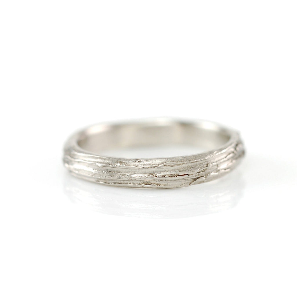 Tree Bark Ring in 14k Palladium White Gold - Size 6 - Ready to Ship