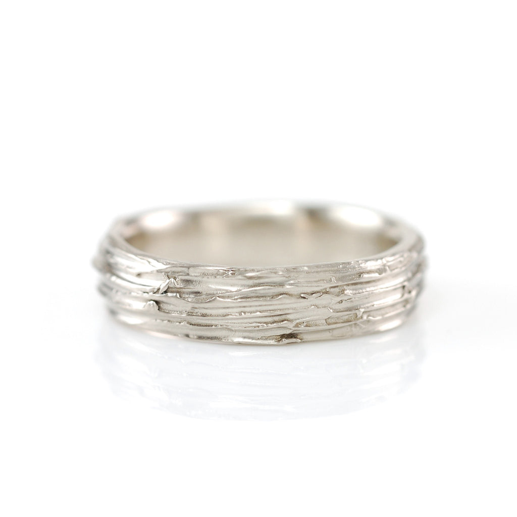 Tree Bark Ring in 14k Palladium White Gold - Size 9 1/2 - Ready to Ship - Beth Cyr Handmade Jewelry