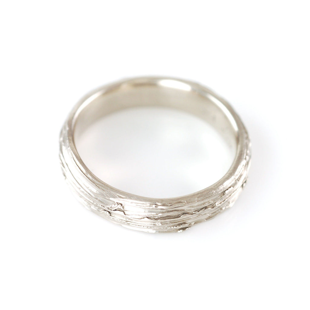 Tree Bark Ring in 14k Palladium White Gold - Size 9 1/2 - Ready to Ship