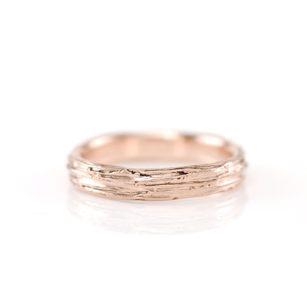 Tree Bark Ring in 14k Rose Gold - Size 4.5 - Ready to Ship - Beth Cyr Handmade Jewelry