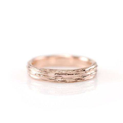 Tree Bark Ring in 14k Rose Gold - Size 4.5 - Ready to Ship