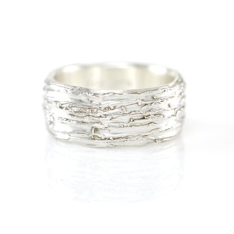 Tree Bark Ring in Palladium Sterling Silver - Size 9.5 - Ready to Ship - Beth Cyr Handmade Jewelry