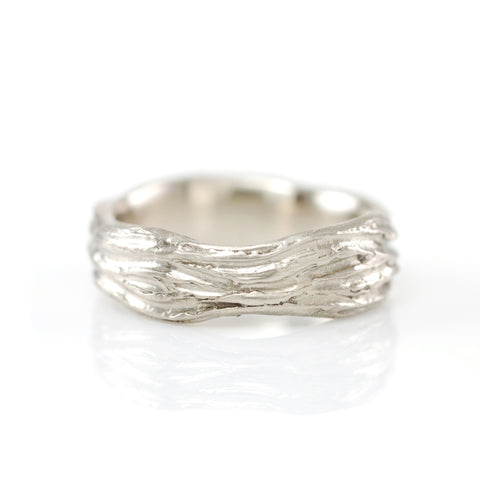 Redwoods Tree Bark Ring in 14k Palladium White Gold - Size 8 - Ready to Ship - Beth Cyr Handmade Jewelry