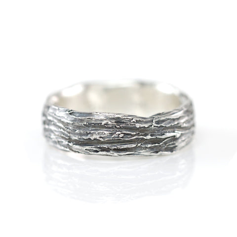 Tree Bark and Leaf Ring in Palladium Sterling Silver - size 11 3/4 - Ready to Ship - Beth Cyr Handmade Jewelry
