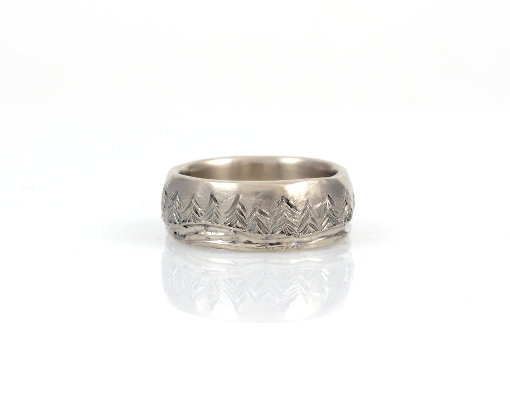 Tree and Sea Wedding Rings in Palladium/Silver - Made to order - Beth Cyr Handmade Jewelry