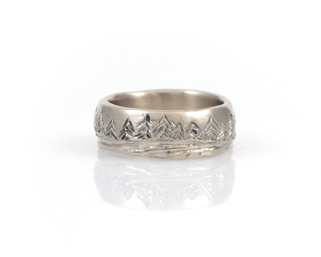 Tree and Sea Wedding Rings in Palladium/Silver 7mm sz 5.25 - Ready to Ship - Beth Cyr Handmade Jewelry