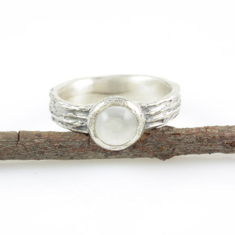 Tree Bark Ring with Moonstone in Palladium Sterling Silver - size 5.5 - Ready to Ship