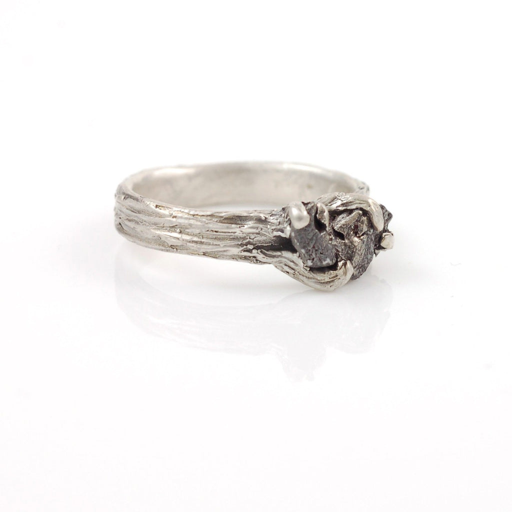 Tree Bark Ring with Meteorite in Palladium Sterling Silver - size 6 - Ready to Ship