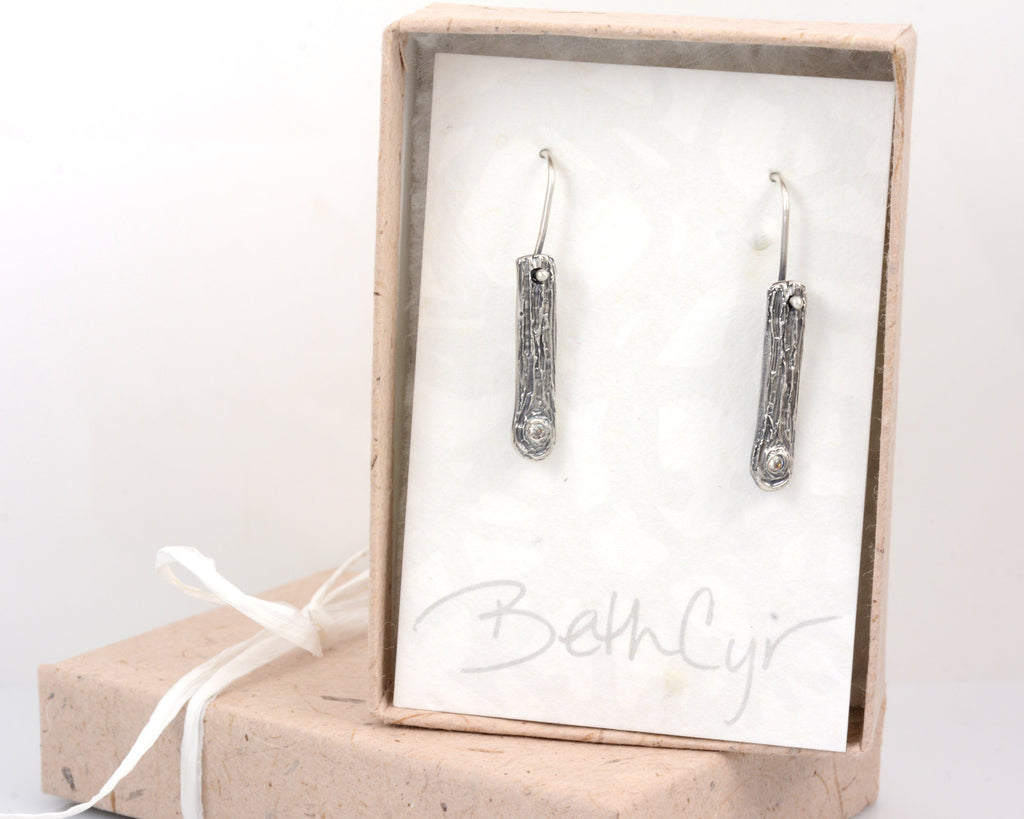 Tree Bark Earrings with Moissanite Knot in Sterling Silver - Ready to ship - Beth Cyr Handmade Jewelry