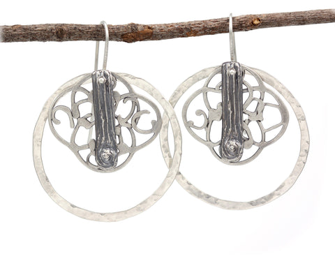 Tree Bark, Organic Vine and Circle Earrings in Sterling Silver - Ready to Ship