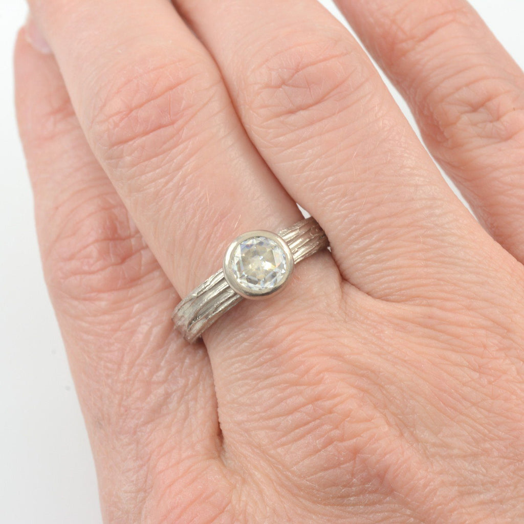Tree Bark Love Knot Rose Cut Moissanite Ring in 14k Palladium White Gold - size 6.5 - ready to ship - Beth Cyr Handmade Jewelry