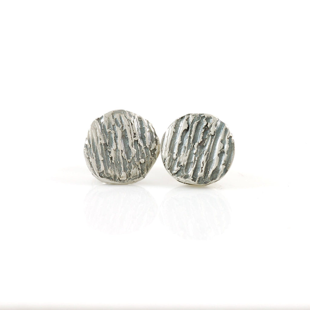 Tree Bark Post Earrings in Sterling Silver - Ready to Ship - Beth Cyr Handmade Jewelry