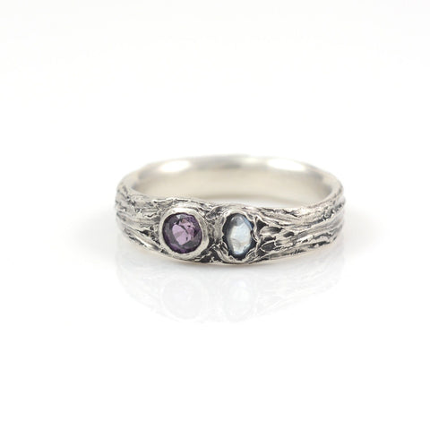 Custom Order Tree Bark Ring with Purple Sapphire and Blue Rough Montana Sapphire in Palladium Sterling Silver - Custom order final payment - Beth Cyr Handmade Jewelry