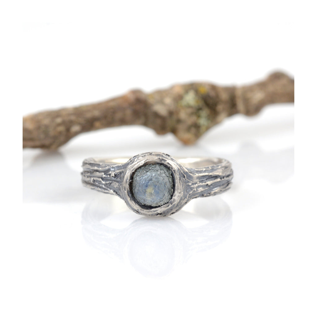 Tree Bark with Rough Sapphire in Palladium Sterling Silver - Custom Order for Lanette - Beth Cyr Handmade Jewelry