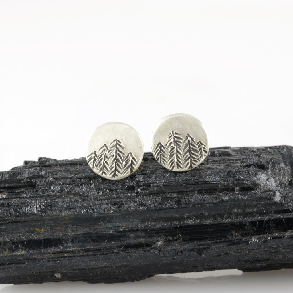 Landscape Earrings - Tree Line Sterling Silver Post Earrings - Ready to Ship