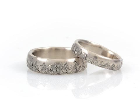 Tree Line Wedding Rings in Palladium/Silver - Made to order