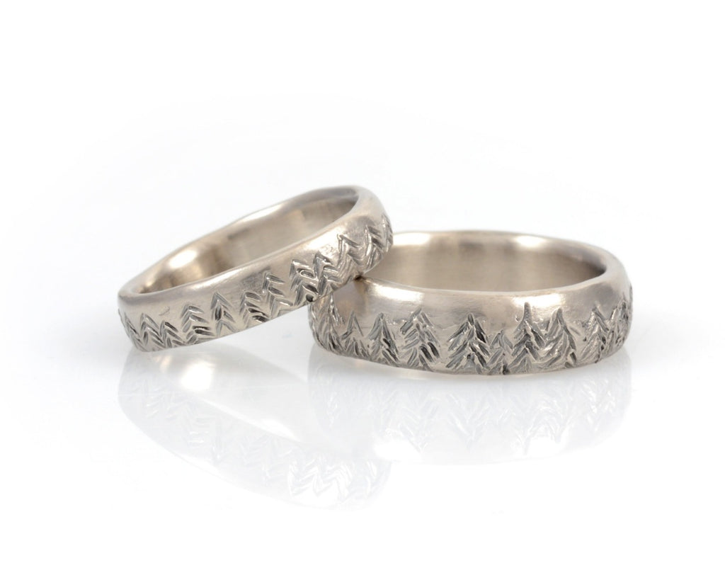 Tree Line Wedding Rings in Palladium/Silver - Made to order - Beth Cyr Handmade Jewelry