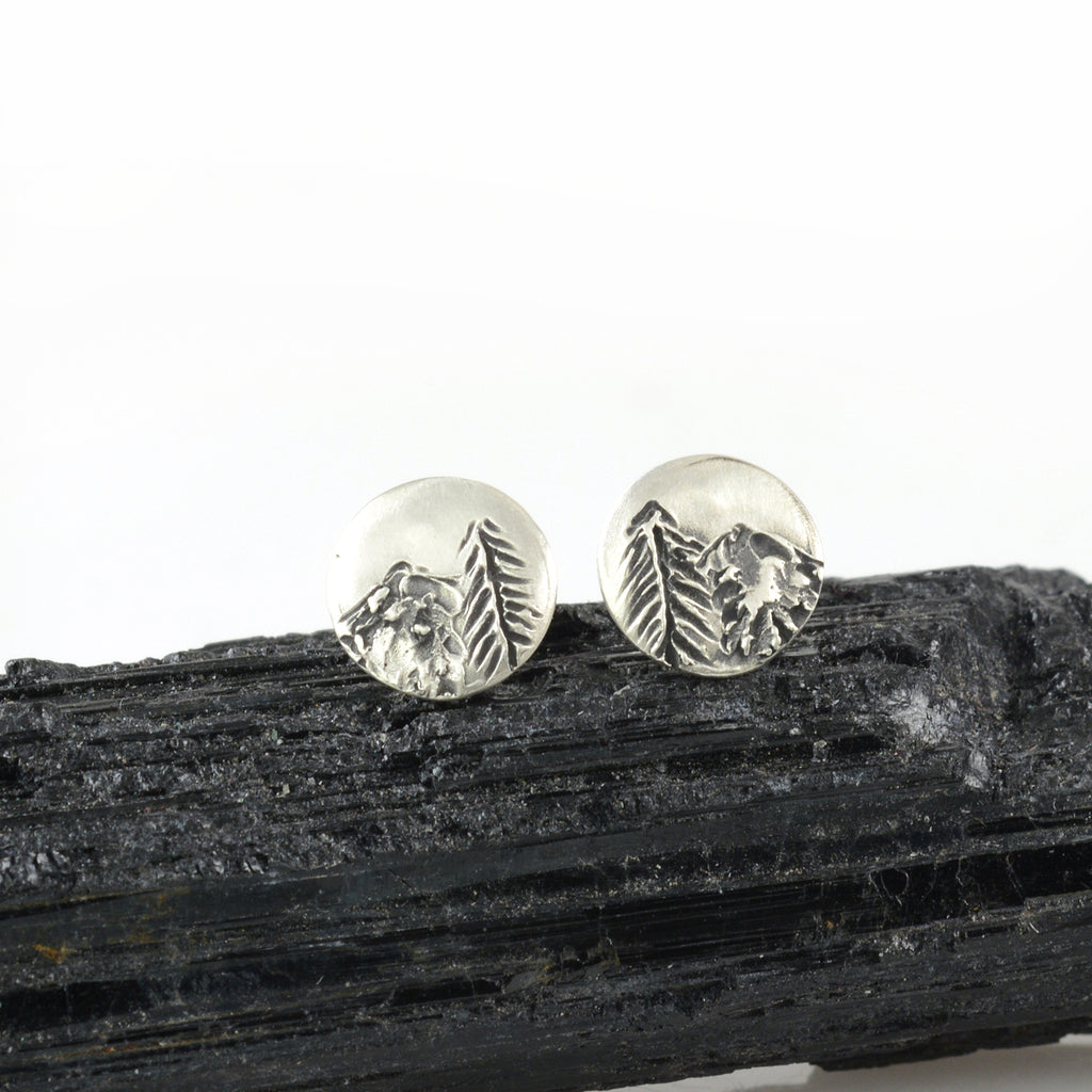 Landscape Earrings - Tree and Mountain Sterling Silver Post Earrings - Ready to Ship
