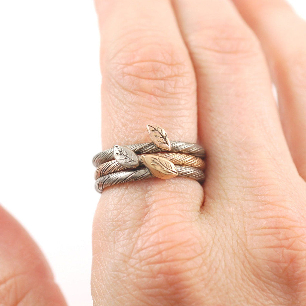 Autumn Leaf - Vine and Leaf Ring in 14k Rose and Palladium White Gold - size 7 1/8 - Ready to Ship - Beth Cyr Handmade Jewelry