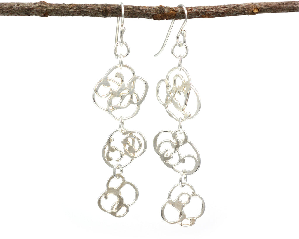 Triple Organic Vine Earrings in Argentium Sterling Silver #29 - Ready to Ship