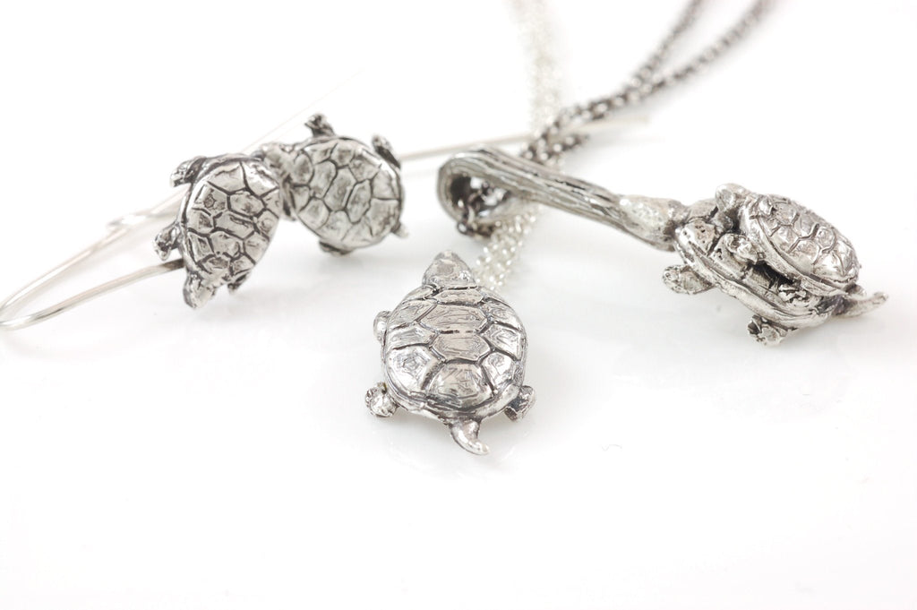 Mom and Tiny Turtle Pendant in Sterling Silver - Made to Order - Beth Cyr Handmade Jewelry