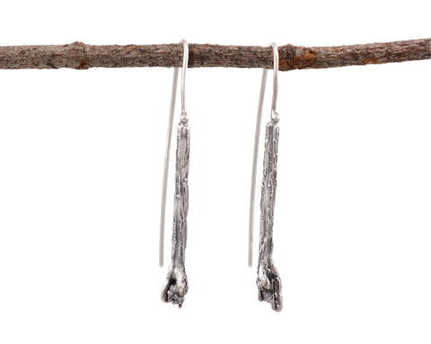 Meteorite and Tree Bark Earrings in Sterling Silver - Ready to Ship - Beth Cyr Handmade Jewelry