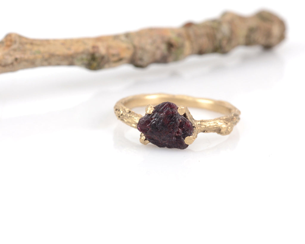 Twig Ring with Rough Ruby in 14k Yellow Gold - Size 6 - Ready to Ship - Nature Inspired Engagement Ring - Beth Cyr Handmade Jewelry