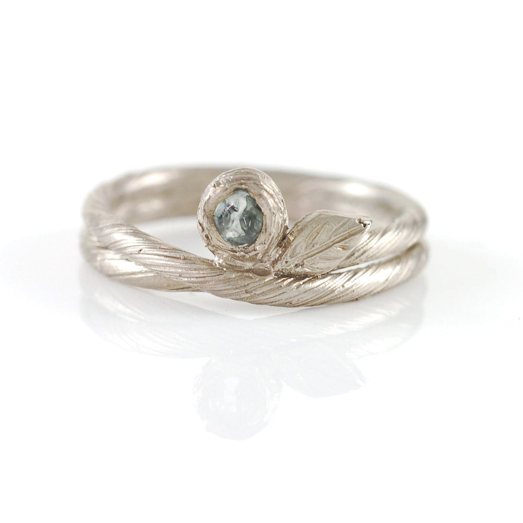 Vine and Leaf Ring with Rough Montana Sapphire in Palladium/Silver  - size 5.5 - Ready to Ship
