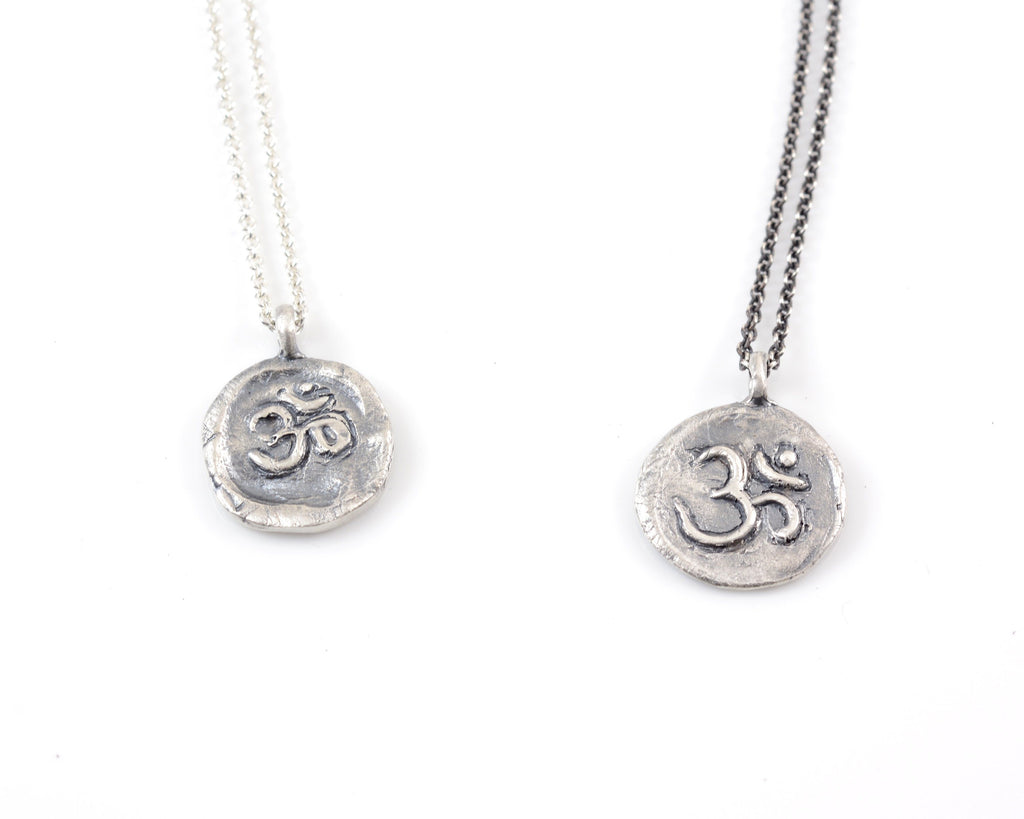 Sterling Silver Om Pendant - (small om design) - Ready to Ship - Beth Cyr Handmade Jewelry