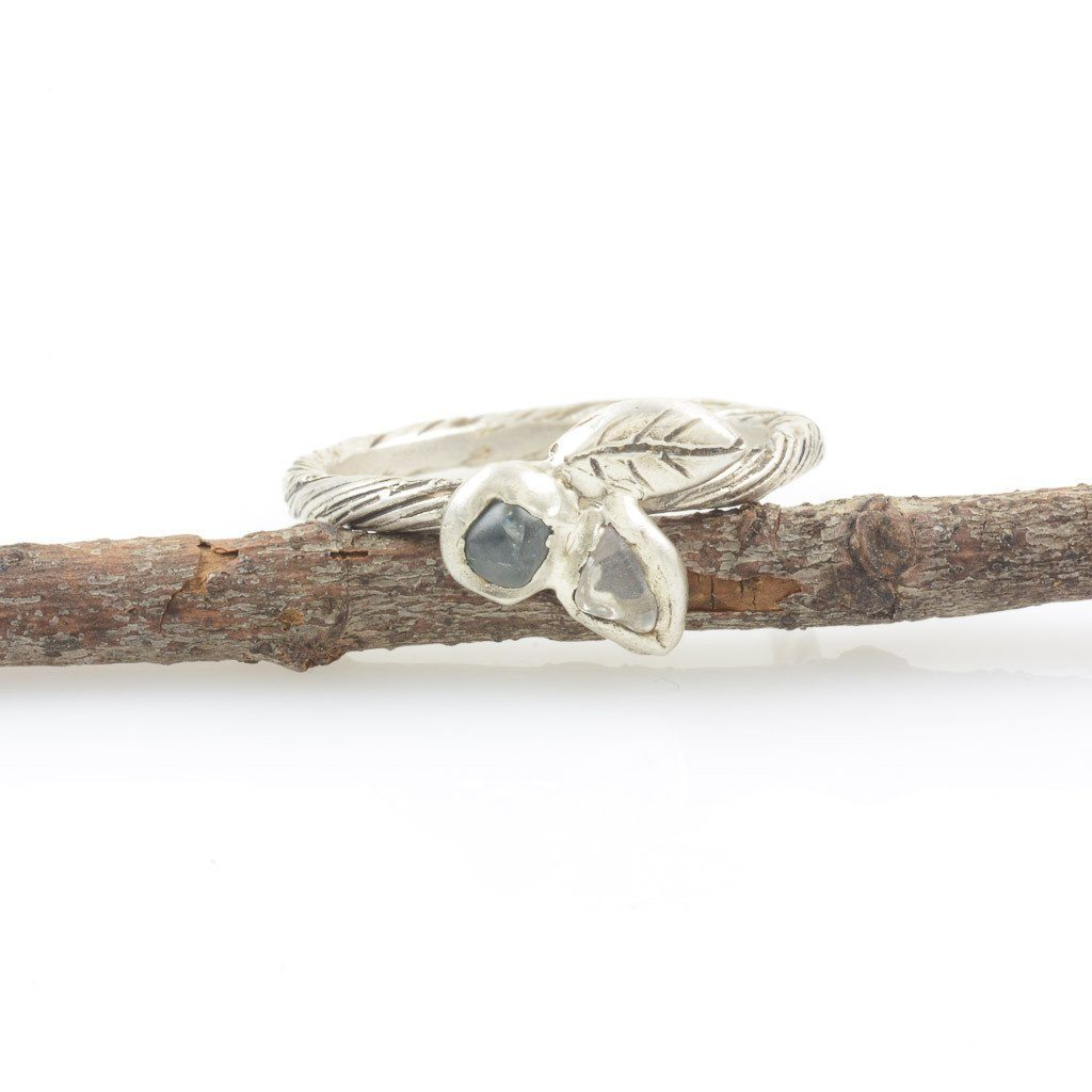 Vine and Double Leaf Ring with Two Sapphires in Palladium Sterling Silver - size 4.5 - Ready to Ship
