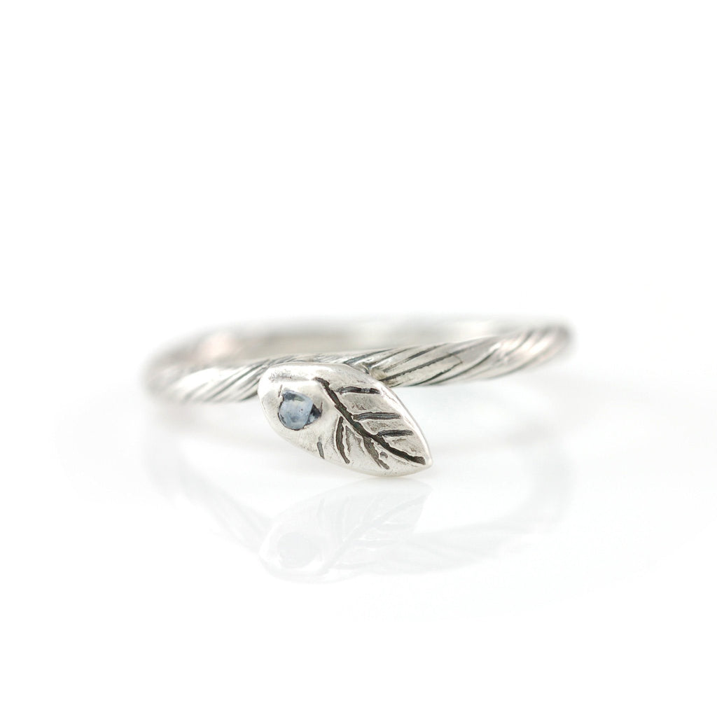 Vine and Leaf Ring with Light Blue-Green Sapphire Leaf in Palladium Sterling Silver - size 4.5 - Ready to Ship