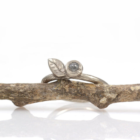 Vine and Leaf Ring with Rose cut Diamond in 14k Palladium White Gold  - size 5.5 - Ready to Ship