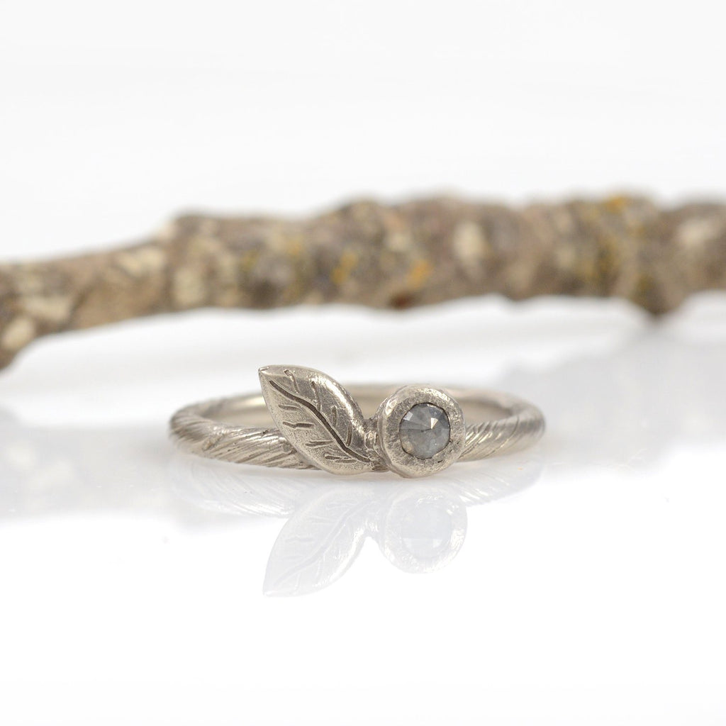 Vine and Leaf Ring with Rose cut Diamond in 14k Palladium White Gold  - size 5.5 - Ready to Ship - Beth Cyr Handmade Jewelry