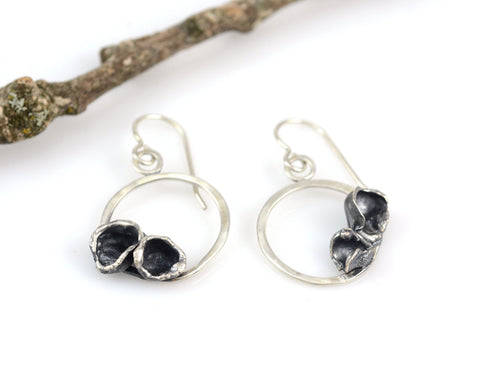 Water Cast Blooms on Small Circle Earrings in Sterling Silver #30 - Ready to Ship