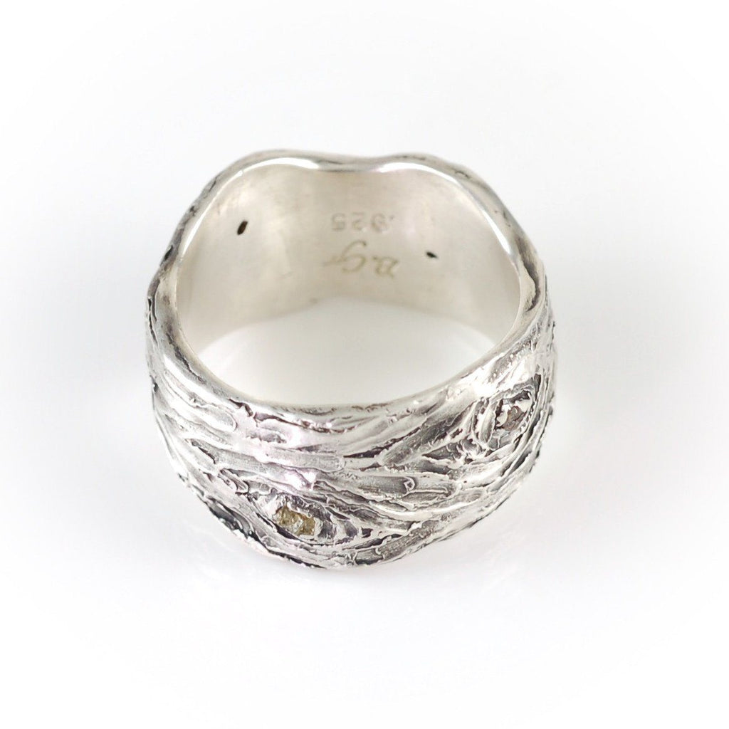Wide Tree Bark Ring with Rough Diamonds in Palladium Sterling Silver - size 6 1/2 - Ready to Ship