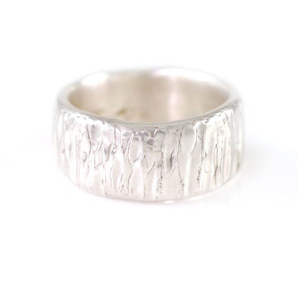 Yellow Birch Bark Wedding Rings in Palladium Sterling Silver  - Made to Order - Beth Cyr Handmade Jewelry