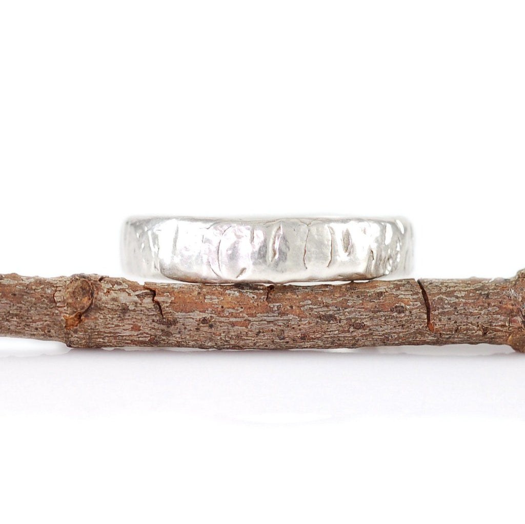 Yellow Birch Bark Ring in Palladium Sterling Silver - size 5 1/4 - Ready to Ship