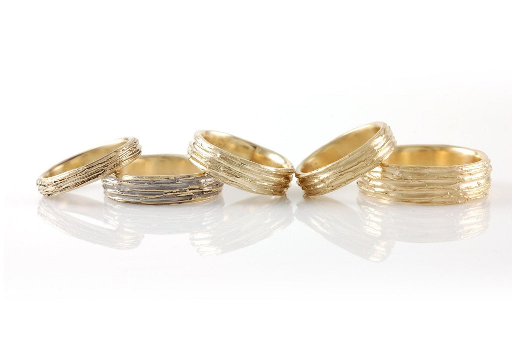 Tree Bark Wedding Rings in Yellow Gold - Made to Order