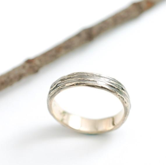 Tree Bark Wedding Rings in Yellow Gold - Made to Order - Beth Cyr Handmade Jewelry