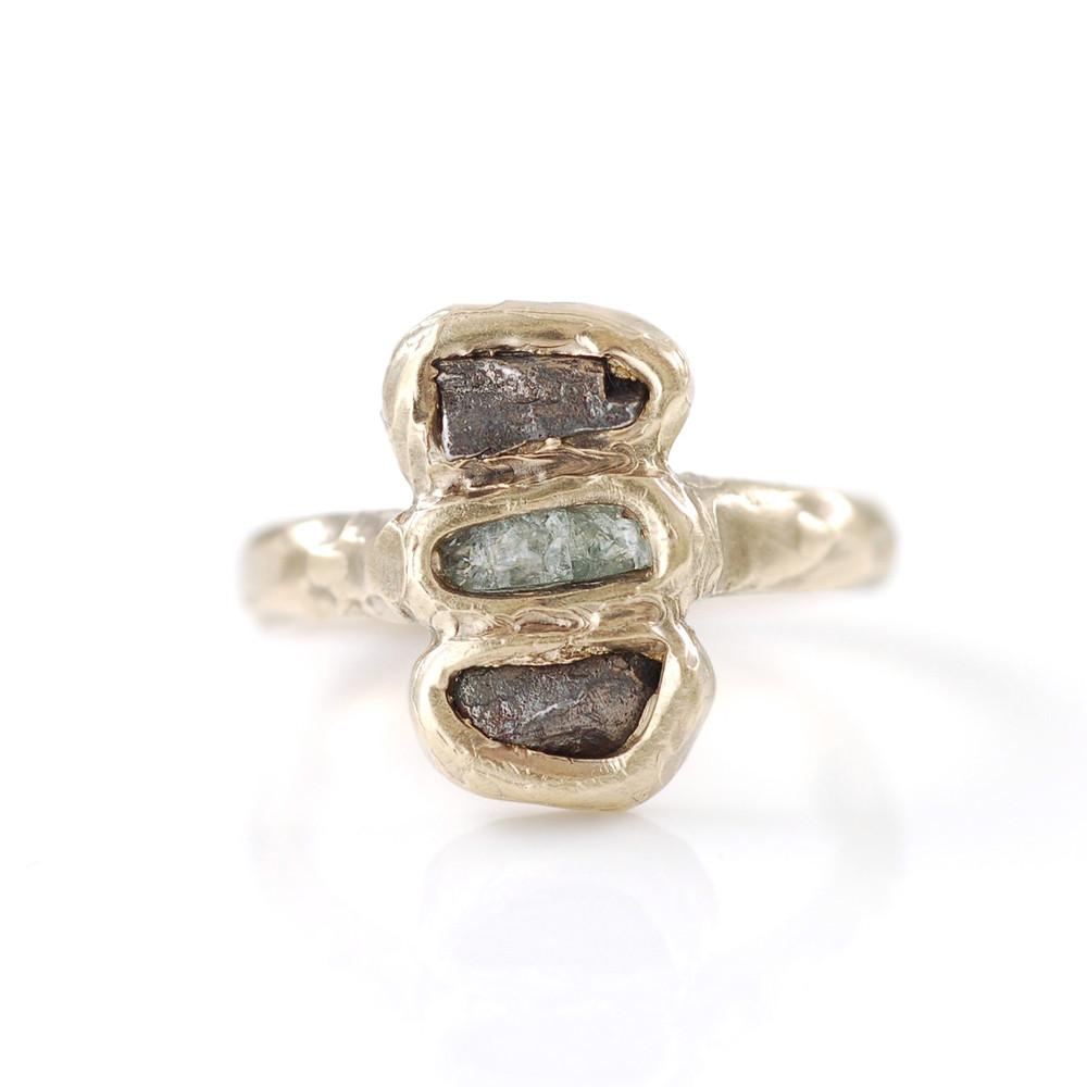 Double Meteorite Ring with Rough Sapphire in 14k Yellow Gold - size 5 1/4 - Ready to Ship - Beth Cyr Handmade Jewelry