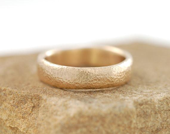 Sands of Time Wedding Rings in Yellow Gold - Made to order - Beth Cyr Handmade Jewelry