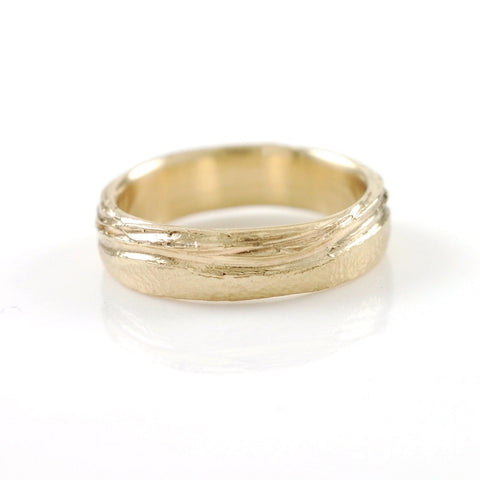 Sea and Sand Wedding Rings in Yellow Gold - Made to Order - Beth Cyr Handmade Jewelry