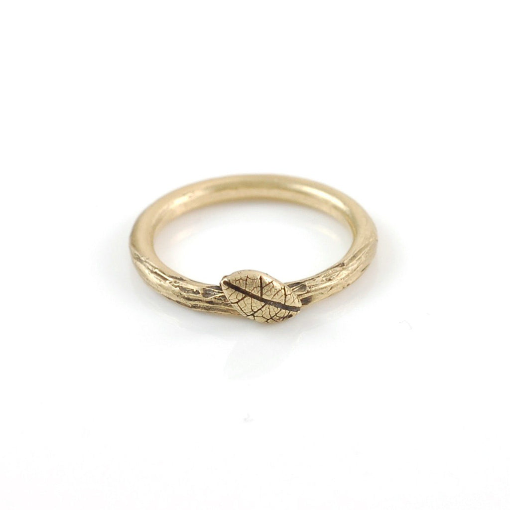 Twig and Leaf Imprint Ring in 14k Yellow Gold - size 4 - Ready to Ship - Beth Cyr Handmade Jewelry