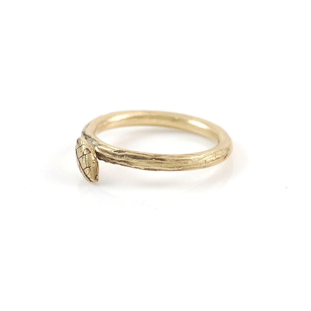 Twig and Leaf Imprint Ring in 14k Yellow Gold - size 4 - Ready to Ship