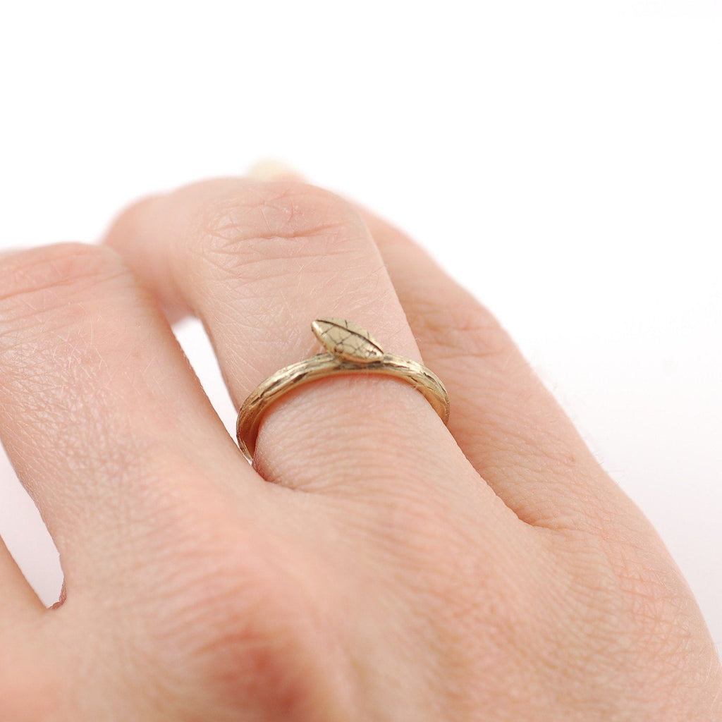 Twig and Leaf Imprint Ring in 14k Yellow Gold - Made to Order - Beth Cyr Handmade Jewelry
