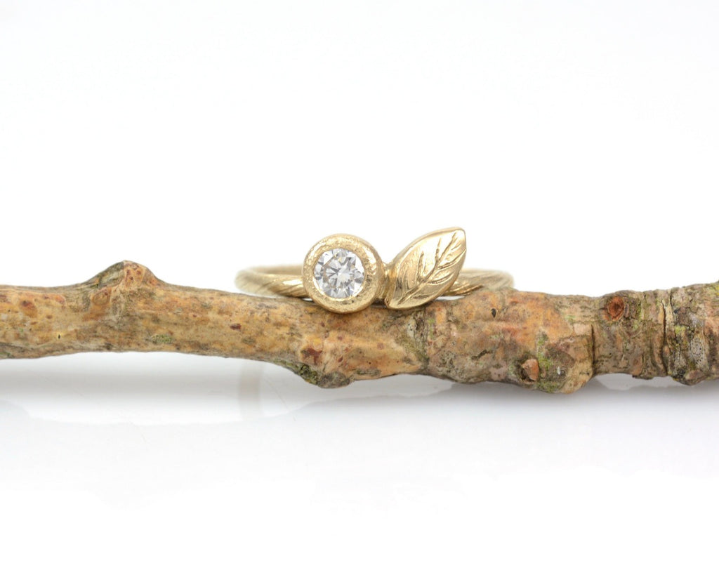 Vine and Leaf Engagement Ring with Diamond or Moissanite in 14k Yellow Gold - Made to Order - Beth Cyr Handmade Jewelry