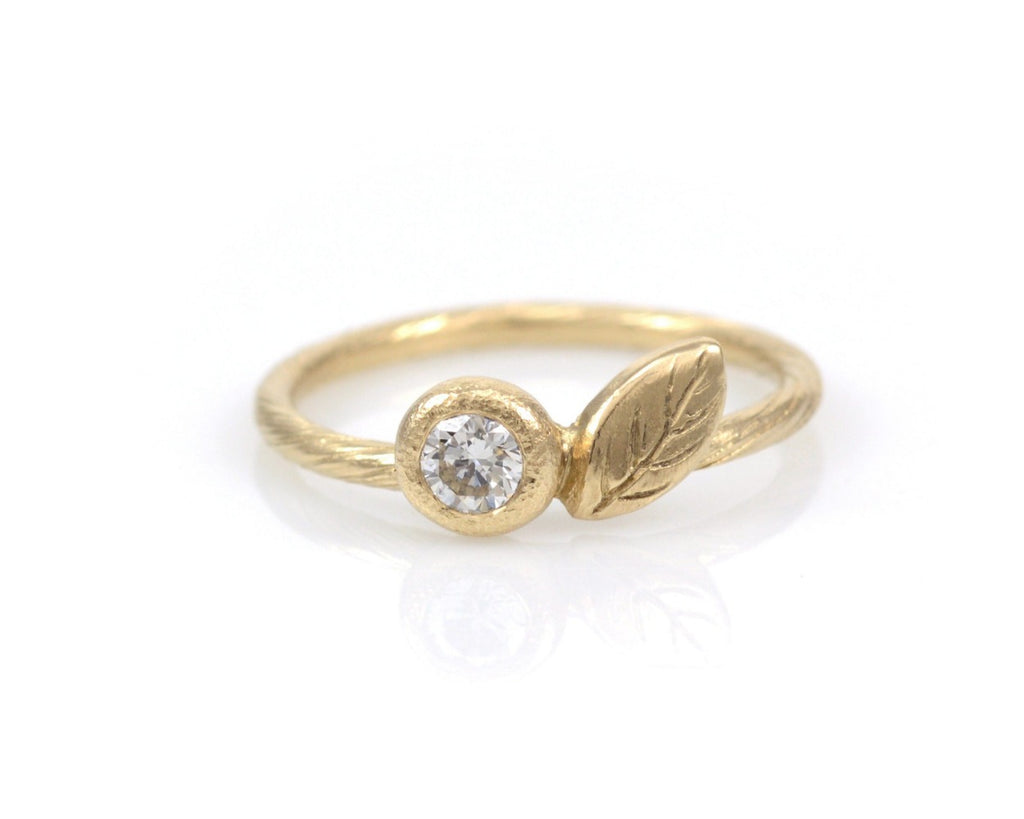 Vine and Leaf Engagement Ring with Diamond or Moissanite in 14k Yellow Gold - Made to Order